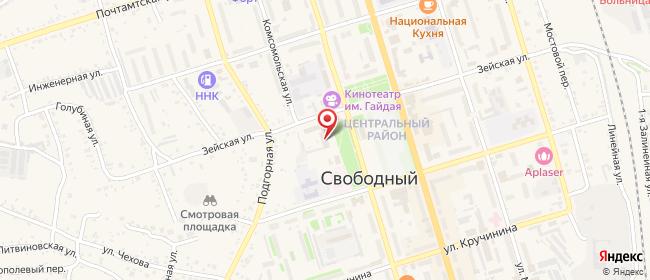 Карта расположения пункта доставки Ростелеком в городе Свободный