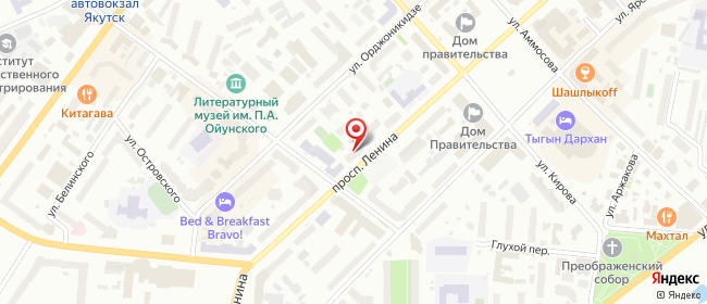 Карта расположения пункта доставки Westfalika в городе Якутск