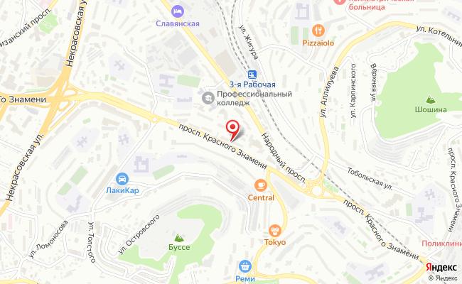 Карта расположения пункта доставки Билайн в городе Владивосток