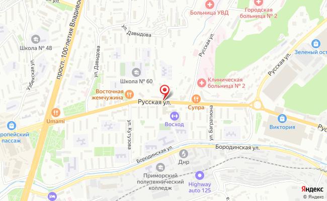 Карта расположения пункта доставки Заказник в городе Владивосток