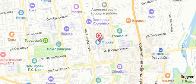 Карта расположения пункта доставки Заказник в городе Уссурийск