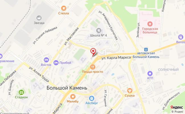Карта расположения пункта доставки Ростелеком в городе Большой Камень