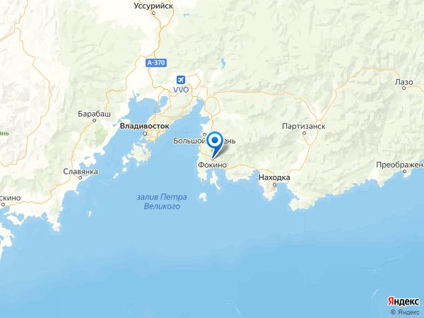 Фокино на карте