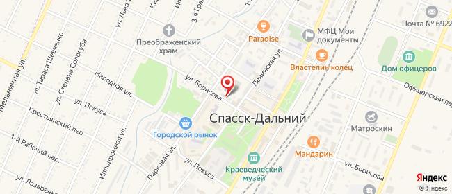 Карта расположения пункта доставки Ростелеком в городе Спасск-Дальний