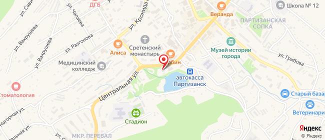 Карта расположения пункта доставки Ростелеком в городе Партизанск