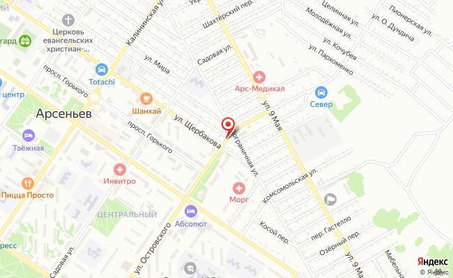 Карта расположения пункта доставки Westfalika в городе Арсеньев