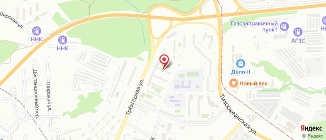 Карта расположения пункта доставки На Трехгорной в городе Хабаровск