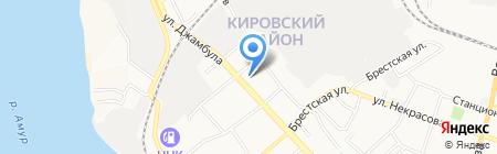 Автостоянка на ул. Джамбула на карте Хабаровска