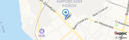 Магазин продуктов на ул. Джамбула на карте Хабаровска