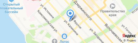 Автостоянка на ул. Калинина на карте Хабаровска