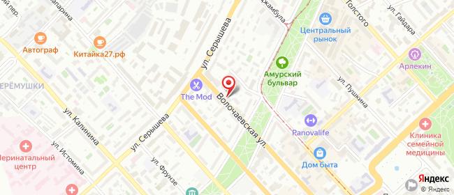 Карта расположения пункта доставки На Амурском Бульваре в городе Хабаровск