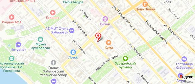 Карта расположения пункта доставки На Калинина в городе Хабаровск