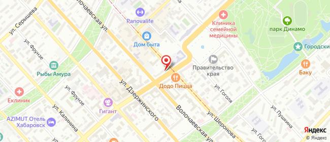 Карта расположения пункта доставки Билайн в городе Хабаровск