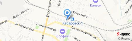 У танкиста на карте Хабаровска