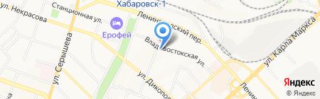 Отдел Пенсионного фонда РФ в Железнодорожном районе г. Хабаровска на карте Хабаровска
