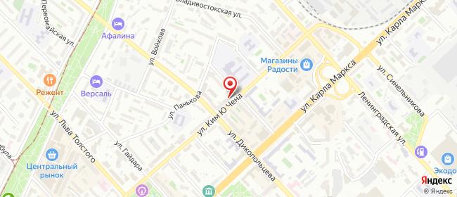Карта расположения пункта доставки На Московской в городе Хабаровск