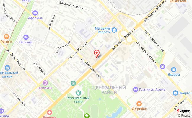 Карта расположения пункта доставки Хабаровск Карла Маркса в городе Хабаровск