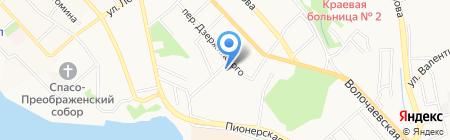 Магазин канцелярских товаров в Фабричном переулке на карте Хабаровска