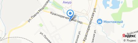 Автостоянка в Краснореченском переулке на карте Хабаровска