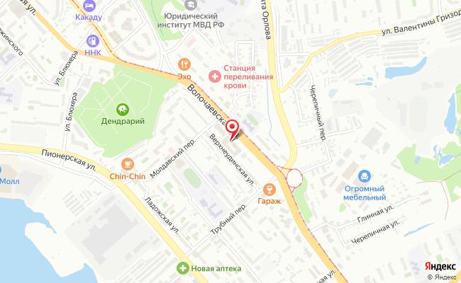 Карта расположения пункта доставки Хабаровск Волочаевская в городе Хабаровск