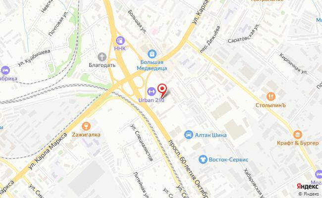 Карта расположения пункта доставки Хабаровск 60-летия Октября в городе Хабаровск