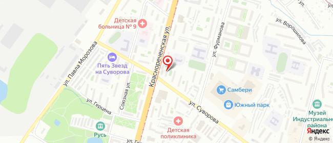 Карта расположения пункта доставки На Суворова в городе Хабаровск