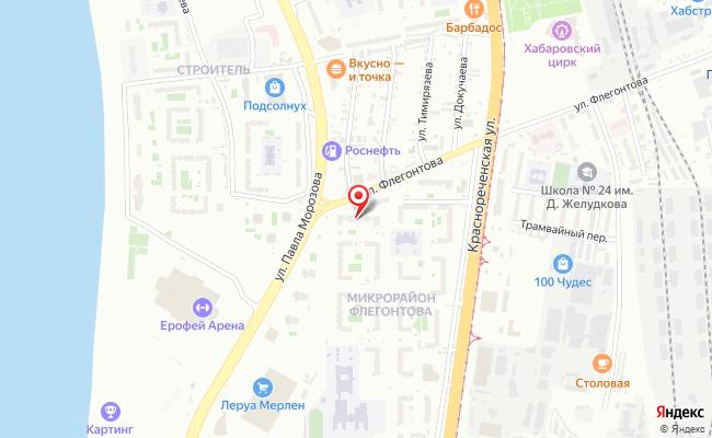 Карта расположения пункта доставки Хабаровск Флегонтова в городе Хабаровск