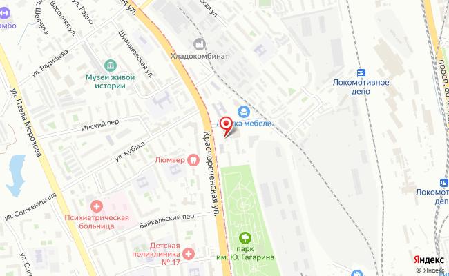 Карта расположения пункта доставки Хабаровск Краснореченская в городе Хабаровск