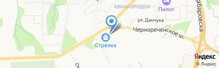 Автостоянка на Чернореченском шоссе на карте Хабаровска