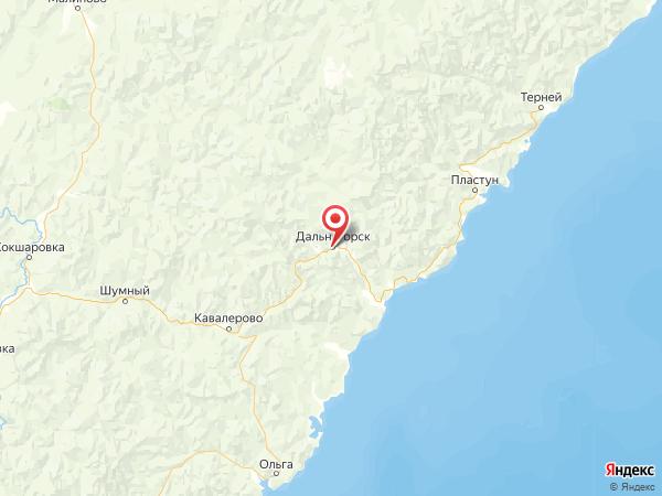 Дальнегорск на карте