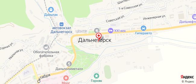 Карта расположения пункта доставки Ростелеком в городе Дальнегорск