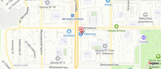 Карта расположения пункта доставки Ростелеком в городе Комсомольск-на-Амуре