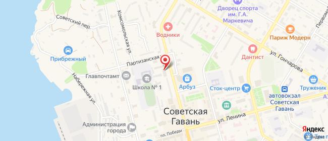 Карта расположения пункта доставки Ростелеком в городе Советская Гавань