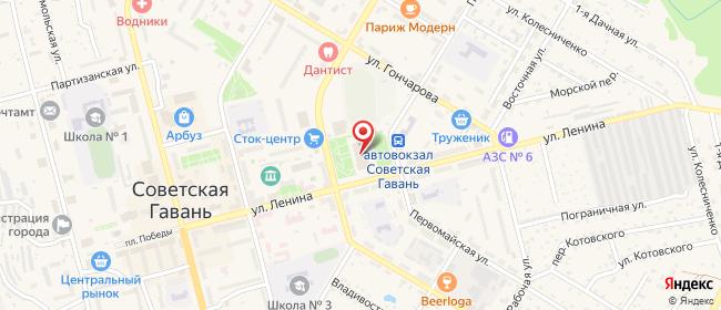 Карта расположения пункта доставки Советская Гавань Ленина в городе Советская Гавань
