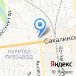 Клубничка на карте Южно-Сахалинска
