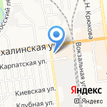 Жигули на карте Южно-Сахалинска