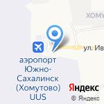 Аэродар на карте Южно-Сахалинска