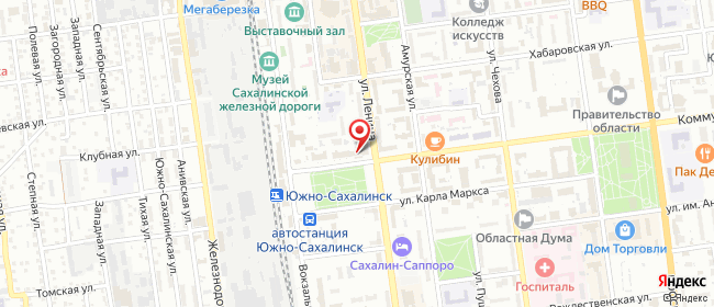 Карта расположения пункта доставки Ростелеком в городе Южно-Сахалинск