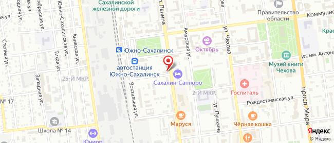 Карта расположения пункта доставки На Ленина в городе Южно-Сахалинск