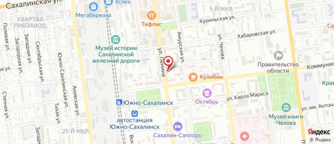 Карта расположения пункта доставки Westfalika в городе Южно-Сахалинск