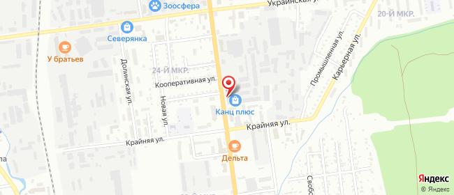 Карта расположения пункта доставки (пр-т Мира 19) в городе Южно-Сахалинск