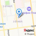 Аквамарин на карте Южно-Сахалинска
