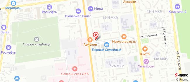 Карта расположения пункта доставки Южно-Сахалинск Есенина в городе Южно-Сахалинск
