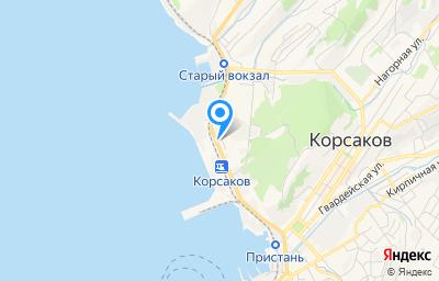 Местоположение на карте пункта техосмотра по адресу Сахалинская обл, г Корсаков, ул Вокзальная, зд 54