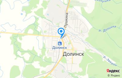 Местоположение на карте пункта техосмотра по адресу Сахалинская обл, г Долинск, ул Горького, д 12