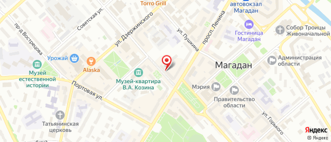 Карта расположения пункта доставки Билайн в городе Магадан