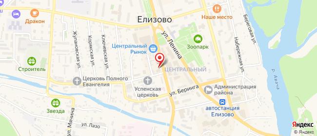 Карта расположения пункта доставки Ростелеком в городе Елизово