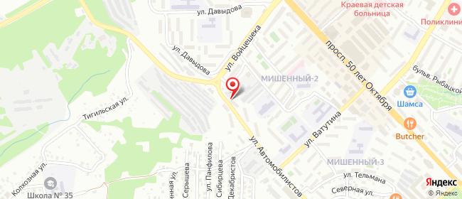 Карта расположения пункта доставки Петропавловск-Камчатский Автомобилистов в городе Петропавловск-Камчатский