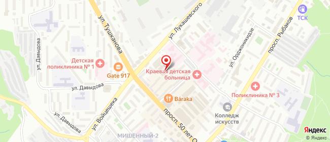 Карта расположения пункта доставки Петропавловск-Камчатский Лукашевского в городе Петропавловск-Камчатский