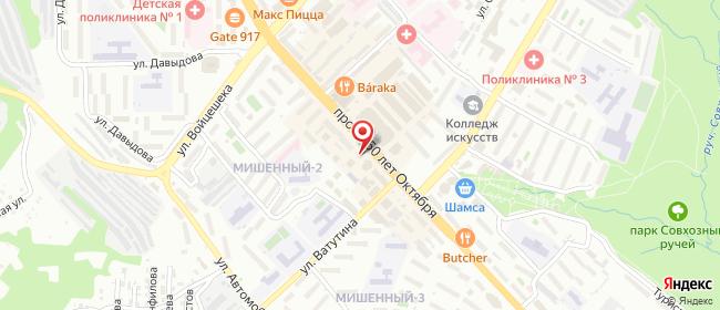 Карта расположения пункта доставки Петропавловск-Камчатский 50 лет Октября в городе Петропавловск-Камчатский